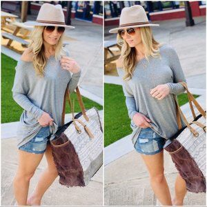 Let's Chill Tunic Dress-Heather Gray